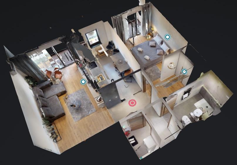 Proprietăţi imobiliare ce pot fi navigate online precum acest plan de locuinţă în format 3d
