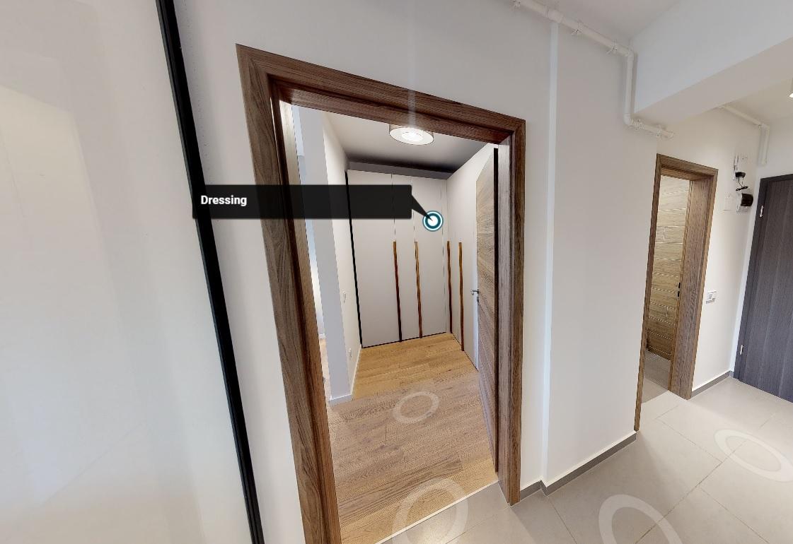 Imagine din holul unui apartament în plan 3D realizat cu ajutorul camerei Matterport Pro 2