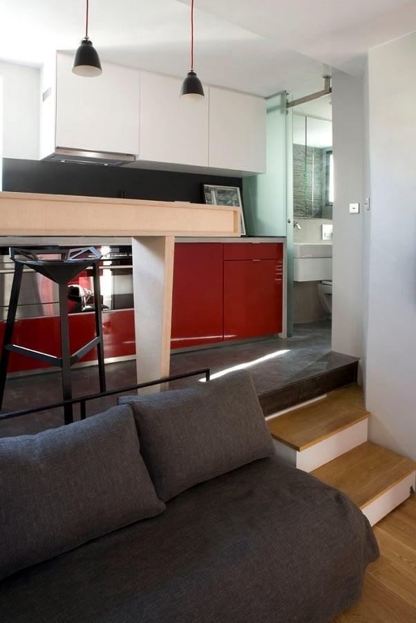 solu ii inteligente pentru spa ii mici amenajarea unei garsoniere de 16 metri p tra i. Black Bedroom Furniture Sets. Home Design Ideas