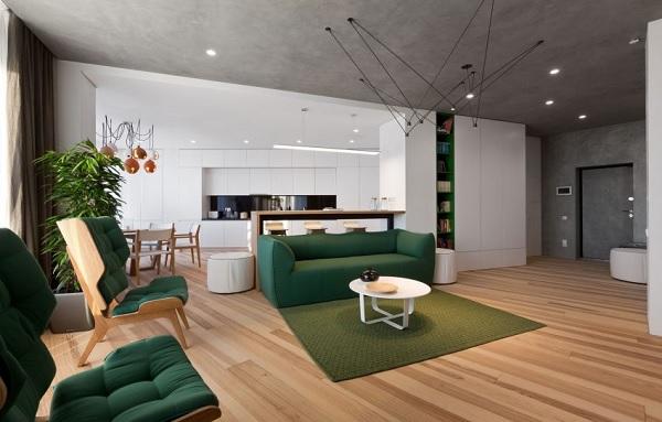 green minimalist apartment 1
