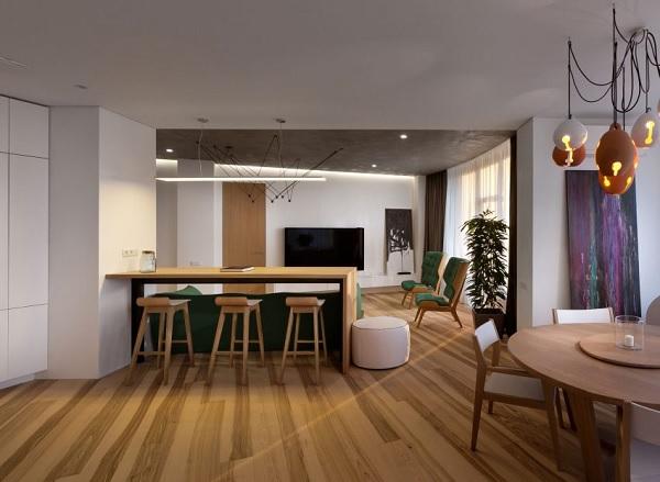 green minimalist apartment 4